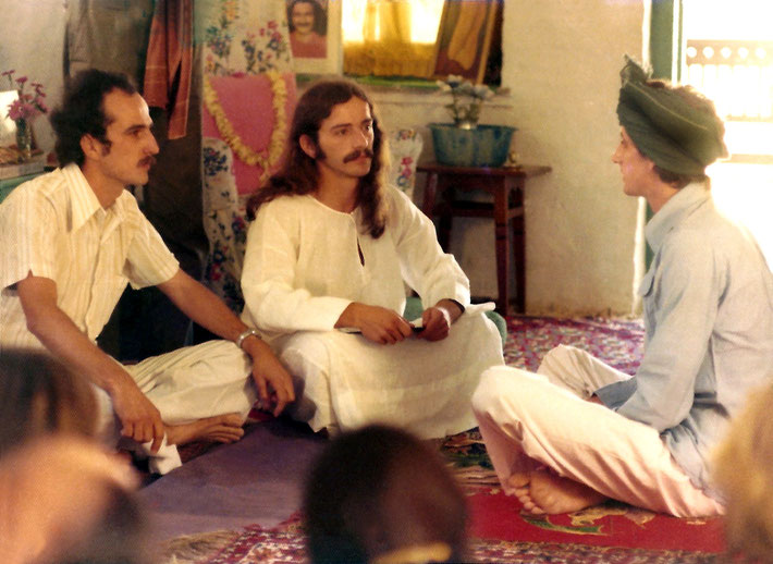Jan.1975 - Australian group performing plays on the life of Meher Baba.   (L-R ) Tim Waidelich as Eruch, Tony Zois as Baba & John Borthwick as Kumar