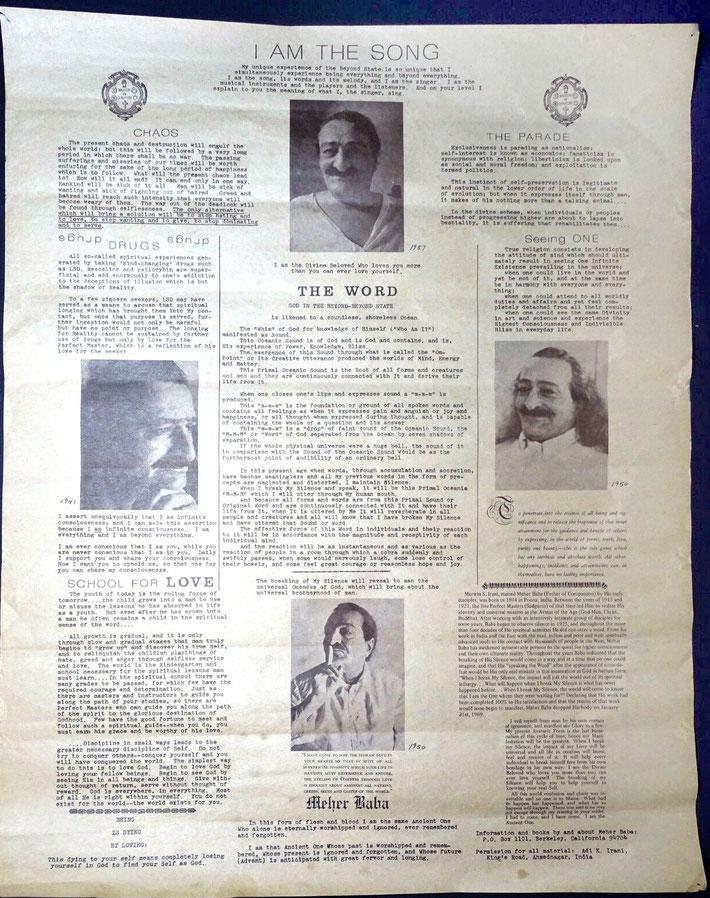 1969 Woodstock Poster - Avatar Meher Baba