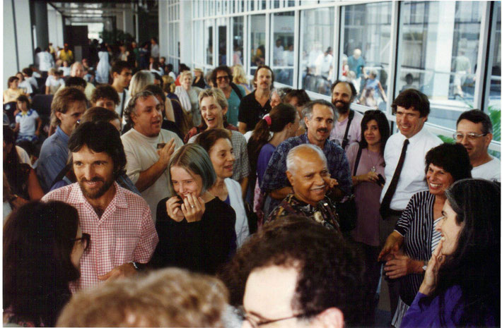 1990s : Bhau at Myrtle Beach Airport greeted by the locals. Image courtesy of Susan White.