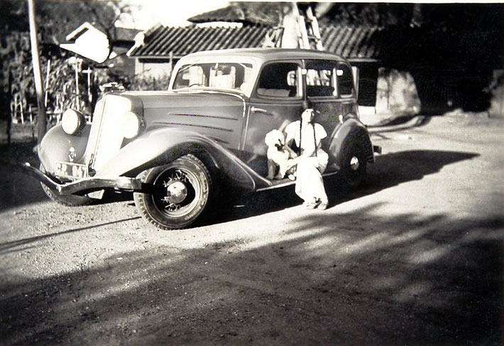 Meheru Jessawala circa mid-1930's, place unknown sitting on Elizabeth Patterson's 1935 Ford Model Convertible Sedan. Courtesy of the Jessawala Collection - AMB Archives, Meherabad, India.