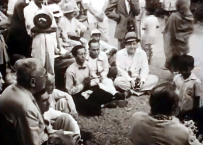 """1954 , Ahmednagar, India ; Hitaker sitting with his hands together  - Courtesy of """"Meher Baba's Call"""""""