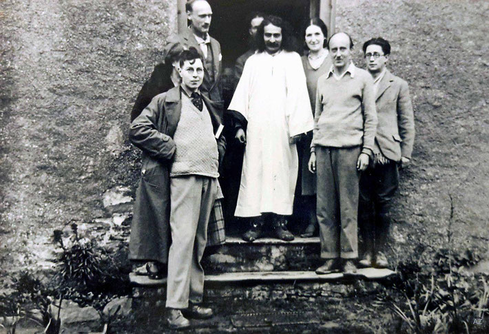 1931 - East Challacombe, Devon, England. Charles is left of Meher Baba. Meredith Star is on the front-right. Courtesy of Anne Ross. Image edited by Anthony Zois