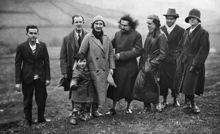 19th April 1932 - East Callacombe, Devon, England : ( L-R ) ?, John Cousins, his wife Dorothy & son, Meher Baba, Minta Toledano, Adi K. Irani, Ann Powell.