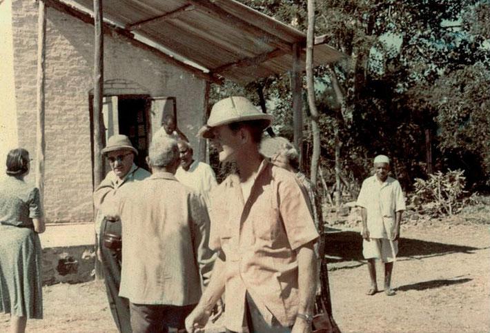 ( L-R ) Kari & Joseph Harb, Meherjee, Mast Mohammed, Sidhu, Dr Donkin, Jeannie Campen, & a servant : photo by Marvin Campen-Dec.1961at Meherabad