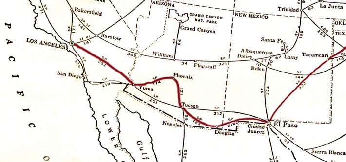 1932 Train route through New Mexico to Los Angeles, Ca. Route drawn by Anthony Zois