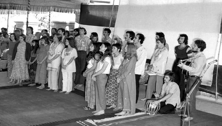 1973 Meherabad Amartithi. Lorraine is performing with the Australian group. She is 2nd from the far left.