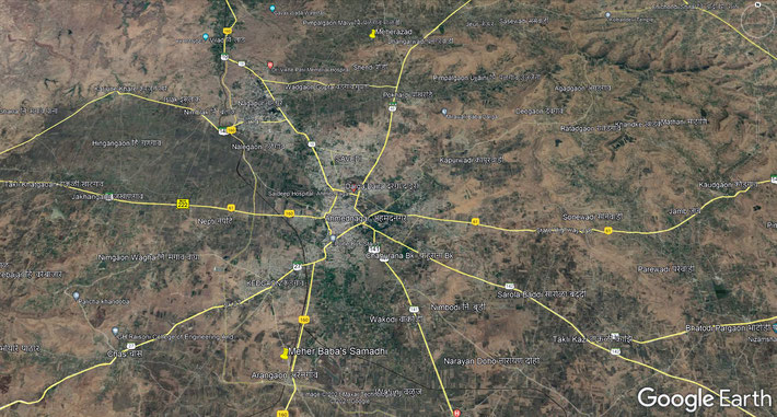 Present-day aerial map of Ahmednagar District. Yellow marker show Meher Baba's Samadhi & Meherazad. Map grahics by Anthony Zois.
