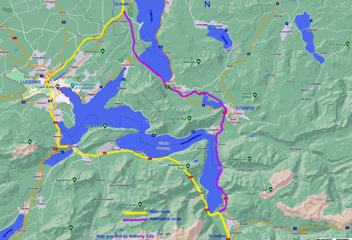 Map 3 : Close-up view - Central Switzerland with both routes showning around Lake Lucerne. Map graphics by Anthony Zois.