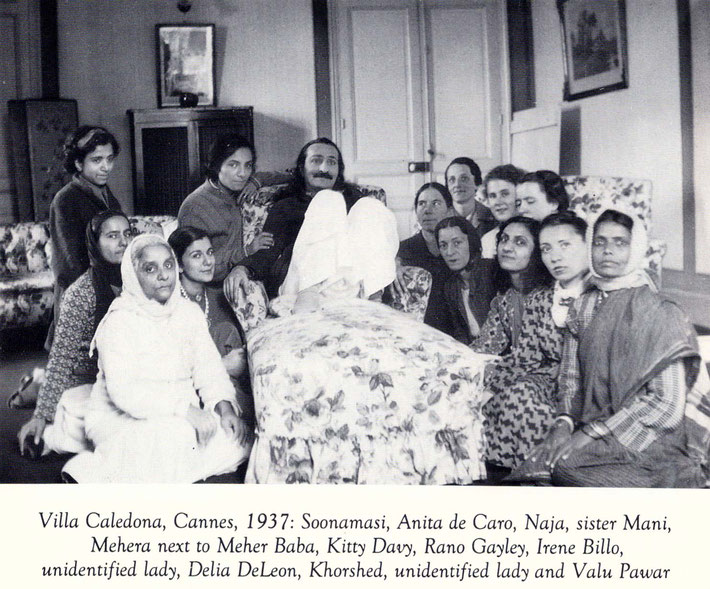 1937 : Villa Caldana, Cannes, France. Naja is seated far left of Meher Baba. Courtesy of Lord Meher book, p.2296