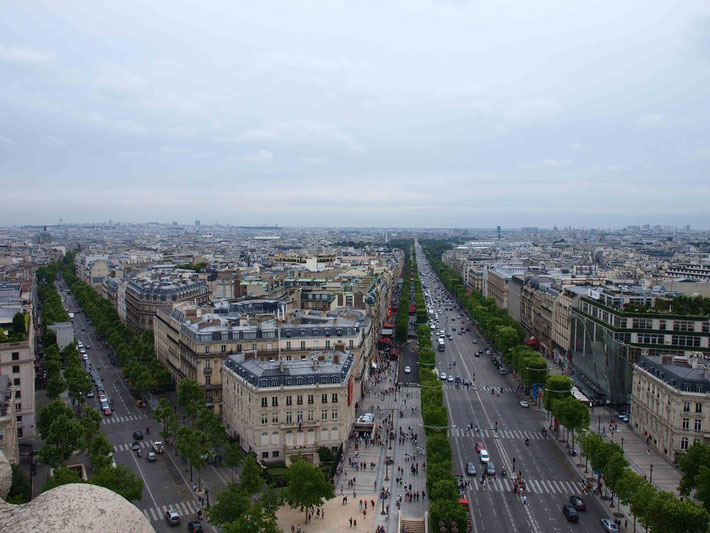 Photo : A.Zois 2010 - View of Champs-Elysees ( right ) from the top of Arc de Triomphe