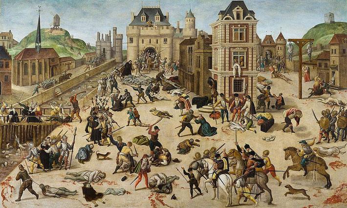Le 24 août 1572, jour de la Saint-Barthélemy, le carillon de l'église de Saint-Germain l'Auxerrois, en face du Louvre, donne le signal du massacre des protestants, à Paris. Entre 15'000 et 30'000 protestants sont massacrés dans l'ensemble du pays.
