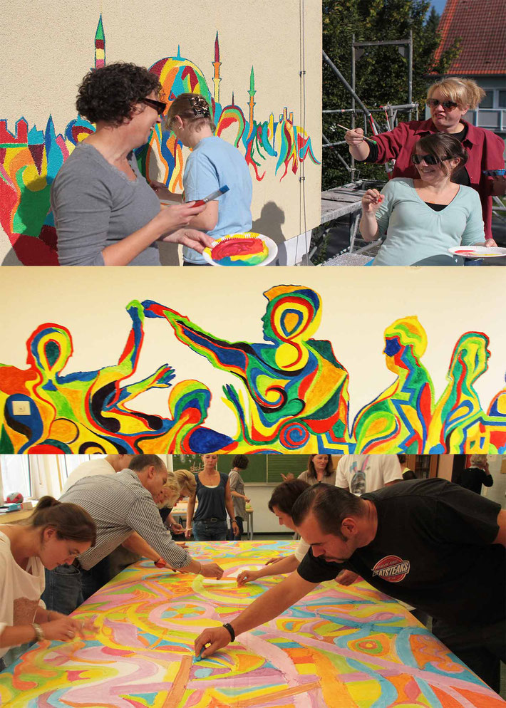 Fotos von Erwachsenen beim malen bei Kunst Events in Unternehmen.
