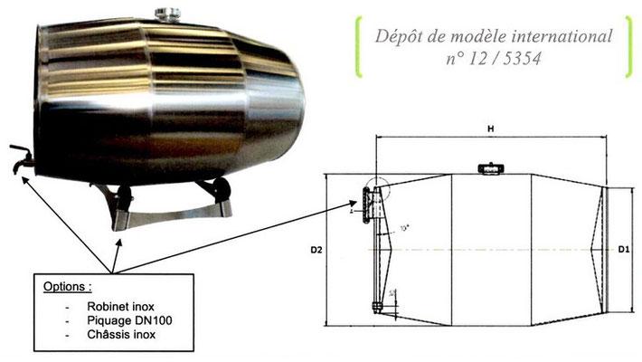 Schéma barrique inox GD Industries
