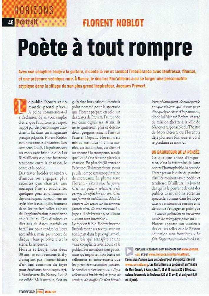Faire Face (magazine de l'APF) de Mars 2011. Article de Elise Descamps au sujet du groupe Les Rim'ailleurs et d'Attila.