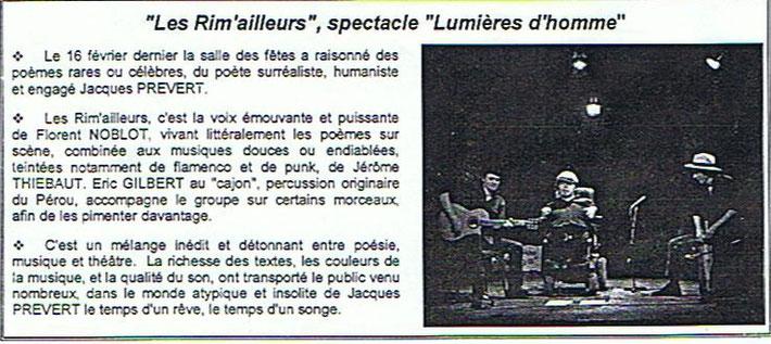 Bulletin municipal de Champvans (Jura) de Mars 2007 au sujet du spectacle du groupe Les Rim'ailleurs à la Salle des fêtes.