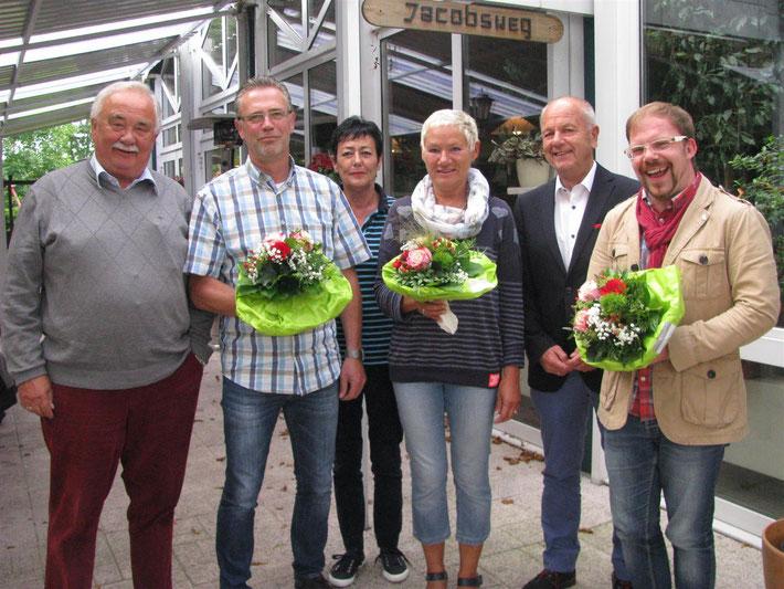 Wilfrid Adam, ehem.MdL, Jörg Münkenwarf, Christine Will, Gesche Marxfeld, Holger Barkowsky, Bürgermeister und Sebastian Seidel.