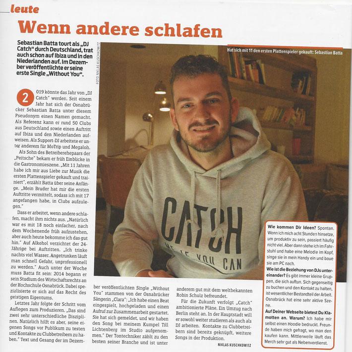 "DJ Catch in der Kategorie ""Leute"" im Stadtblatt Osnabrück. (01/2019)"