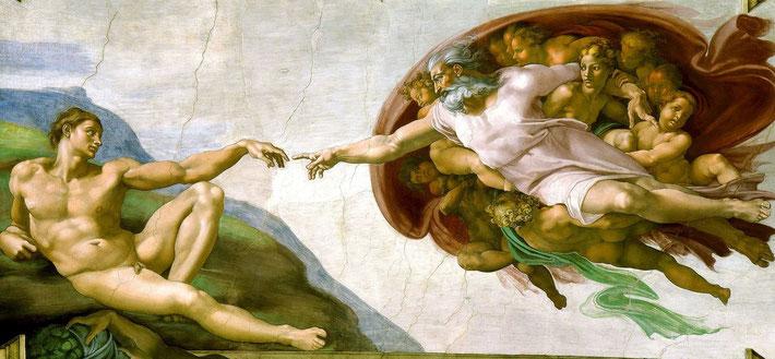 Michelangelo: Die Erschaffung Adams (Sixtinische Kapelle im Vatikan; Bildquelle: Wikipedia)