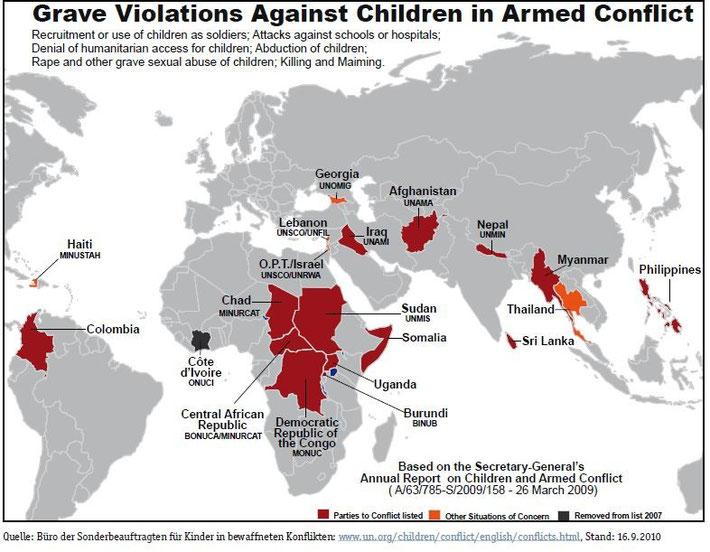 Die Grafik zeigt, in welchen Staaten Kinder Opfer von Kriegen und gewaltsamen Konflikten sind. (Stand 2010)