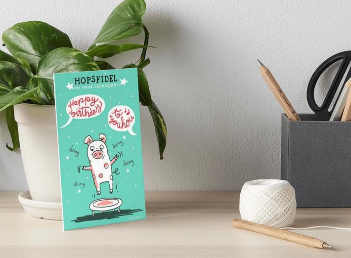 Trampolinschweinchen - Hopsfidel ins neue Lebensjahr – Galeriedruck bei Redbubble – Illustration Judith Ganter - Illustriertes Kopfkino für Alltagsoptimisten - Hamburg Germany