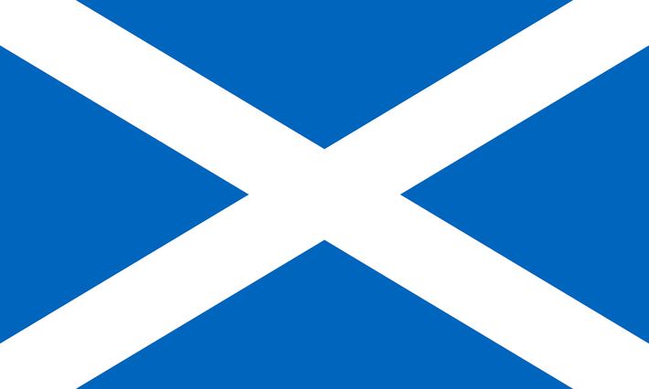 Ansicht der schottischen Flagge mit dem Andreaskreuz