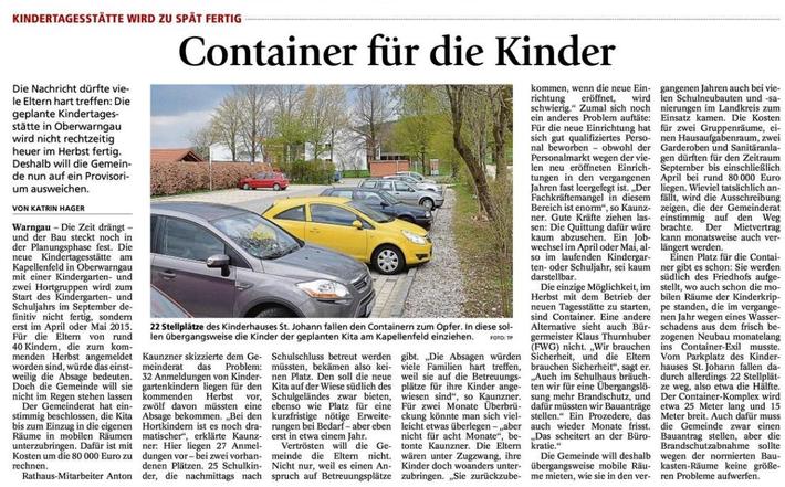 Zeitungsartikel aus dem Münchner Merkur April/Mai2014