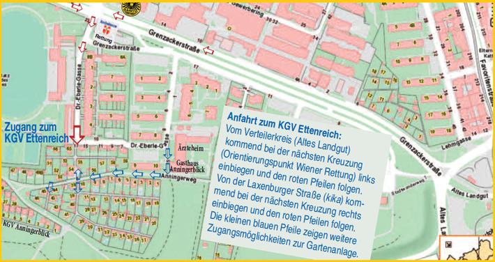 Wenn Sie www.wien.gv.at/stadtplan/ aufrufen und im Suchfeld als Adresse Dr. Eberle-Gasse 17/ UND die gewünschte Parzellennummer angeben, wird das Ziel punktgenau angezeigt.