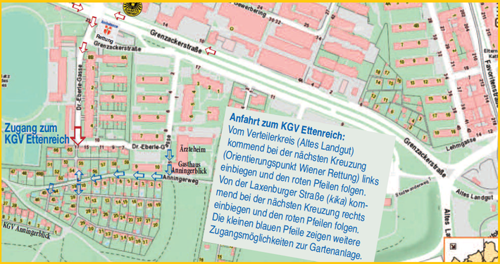Anfahrtsplan zum KGV Ettenreich, Anningerweg 5, 1100 Wien