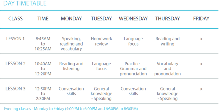 Cass Training International College, General English Timetable