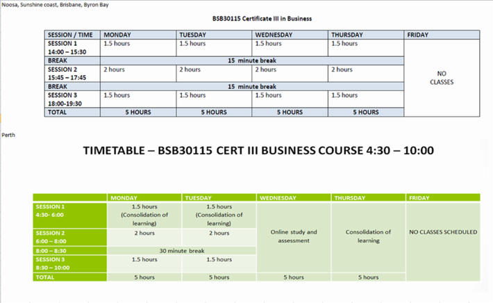 Lexis English - Cert III in Business 時間割