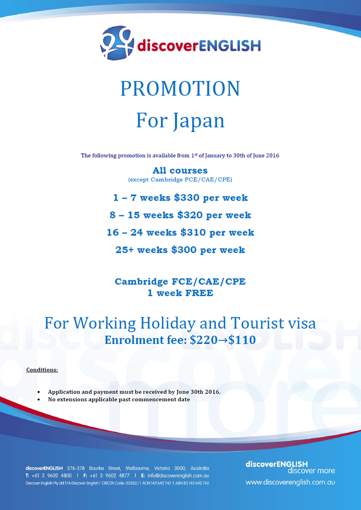 Discover English Special Offer Jan - Jun 2016