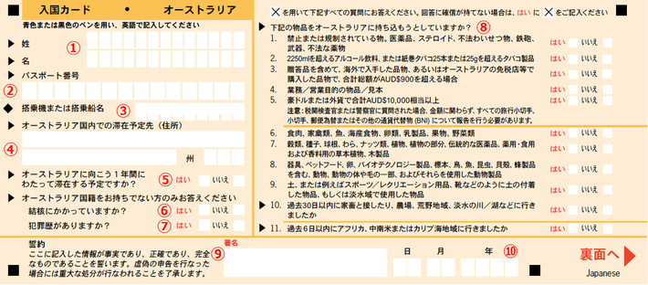 Incoming Passenger Card (Japanese) - Front