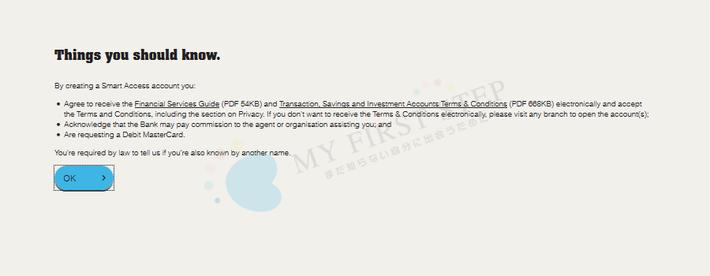 CBA オンライン口座開設 - 申請画面