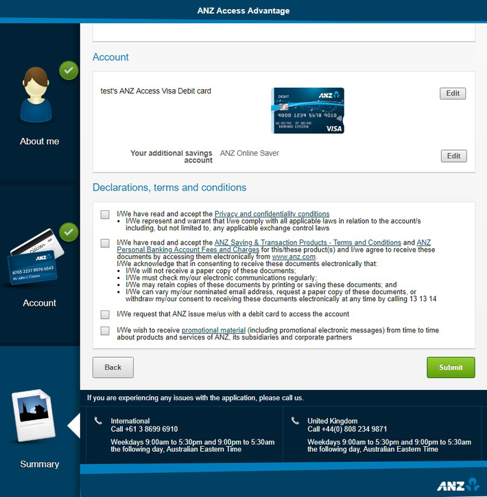 ANZ オンライン口座開設 - 申請画面