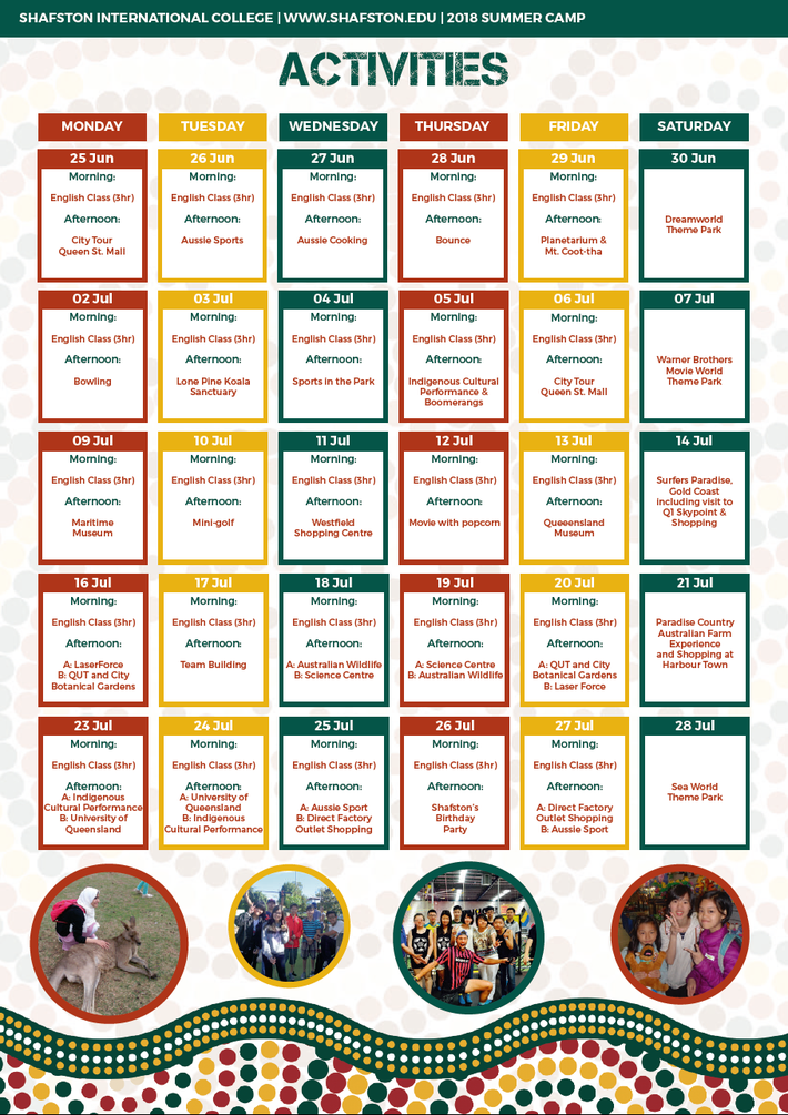 Shafston 2018 Summer Camp Timetable 1