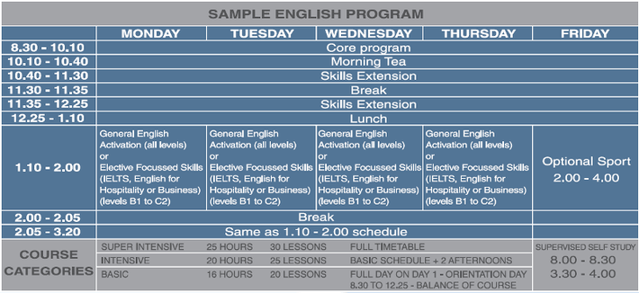 Cairns Language Centre Timetable
