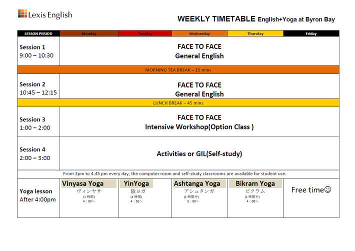 Lexis English - Byron Bay, English + Yoga Weekly Timetable