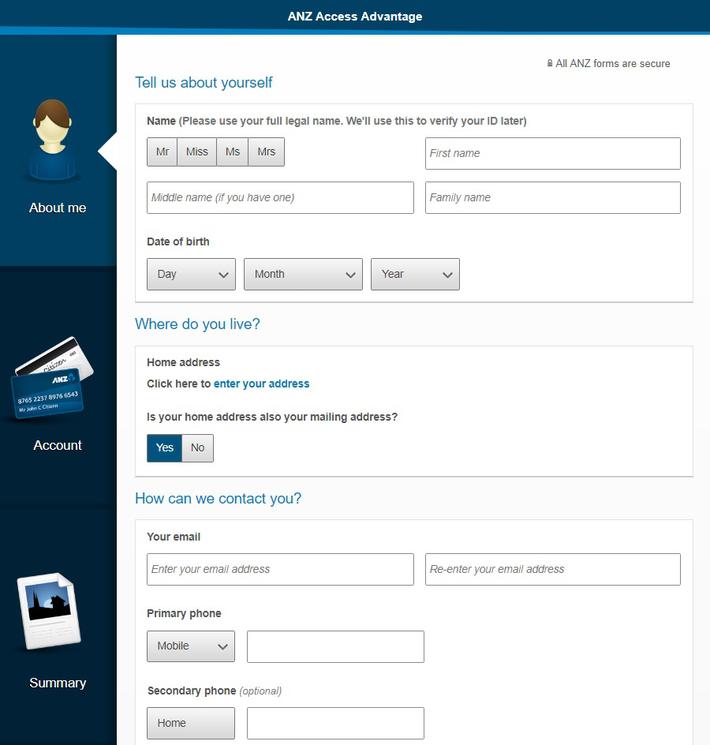 ANZ オンライン口座開設 - 入力画面1