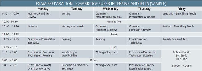 Cairns Language Centre ケンブリッジ試験対策コース 時間割