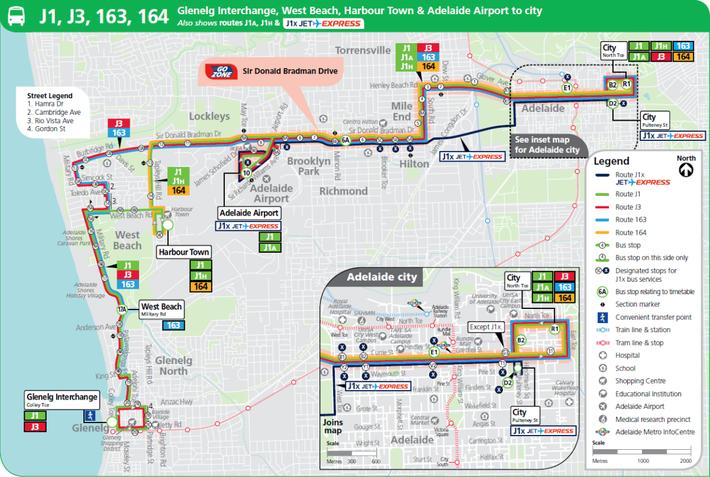 アデレード空港 バス路線図