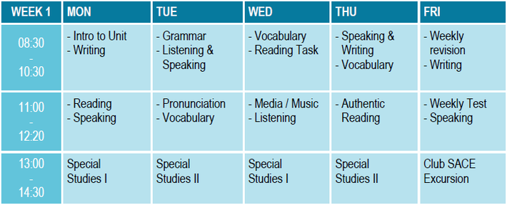 SACE Whitsundays - Timetable for General English