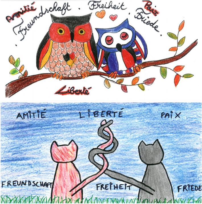 En haut : dessin de Julia PREMAOR - En bas : dessin de Louisa FERREIRA
