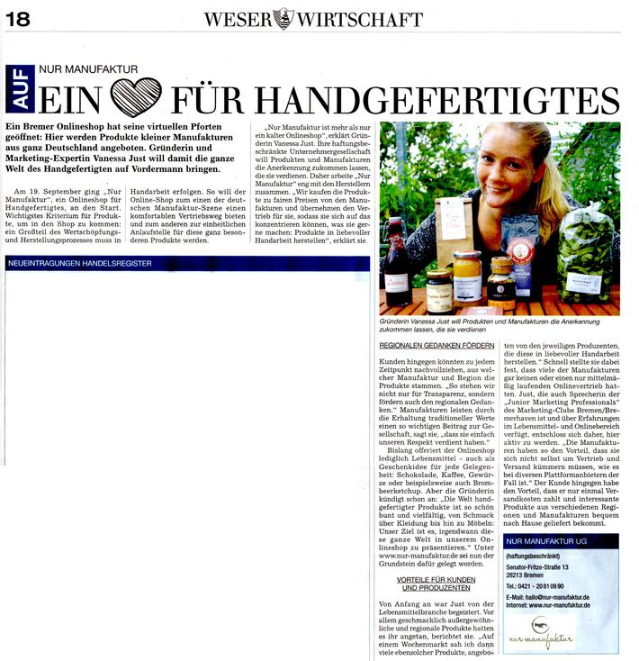 Pressebericht in der Weser-Wirtschaft im November 2015