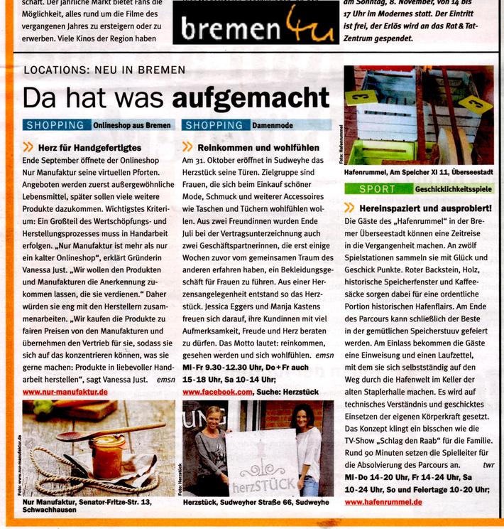 Pressebericht von Bremen4You im September 2015