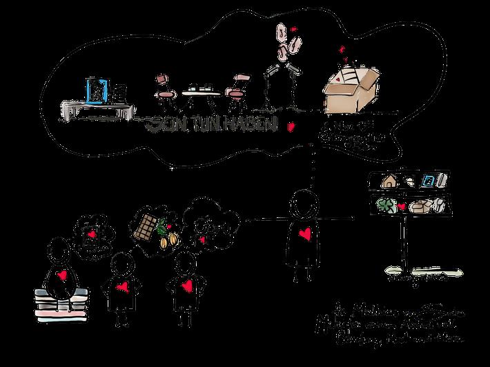 Event-Illustration - ein ganzer Abend zusammengefasst in einem Bild. Eignet sich toll als Dank danach, Reminder für den Alltag oder einfach als ein Geschenk oder eine herzliche Erinnerung.