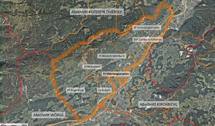 Der Abschnitt Langkampfen mit dessen Feuerwehren und den Nachbarabschnitten Wörgl, Kirchbichl und Kufstein - Thiersee. (©Land Tirol, tiris - www.tirol.gv.at/tiris)