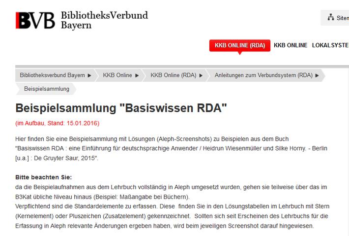 """Screenshot von der Beispielsammlung """"Basiswissen RDA"""" auf KKB online"""