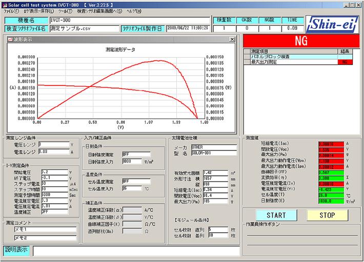 太陽電池検査装置の測定画面