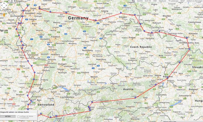 Der grobe Streckenverlauf (Ca. 3800 km)