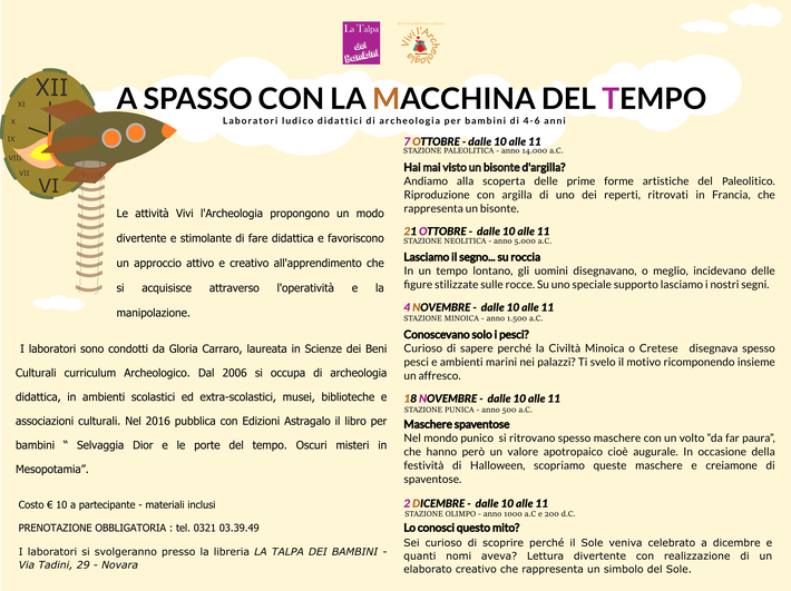 Eventi per bambini a Novara. Laboratori di Archeologia per bambini. Vivi l'Archeologia. Gloria Carraro. Libreria La Talpa